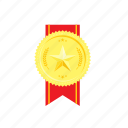 banner, golden, medal, red, ribbed, star, wheat icon