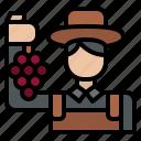 farmer, hold, grape, winery
