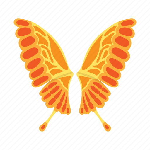 butterfly, cartoon, colorful, nature, orange, white, wing icon