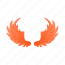 background, cartoon, design, fire, fly, pair, wings icon