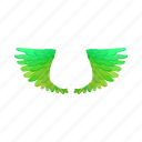 bird, cartoon, fly, green, haven, parrot, wings icon