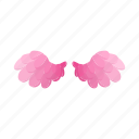 bird, cartoon, decoration, feather, pair, pink, wing icon