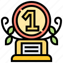achievement, number, one, prize, trophy, 1 icon