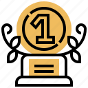 achievement, number, one, prize, trophy icon
