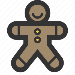 bread, cookie, gingerbread, man icon