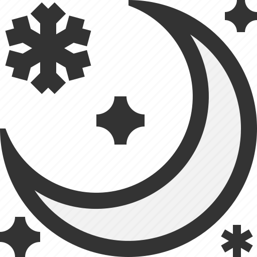 moon, night, snow, winter icon