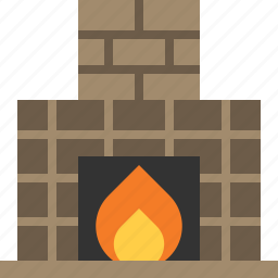 building, fireplace, house, interior icon