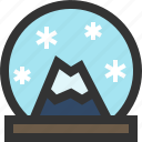 snowdome, snowglobe, waterglobe, winter icon
