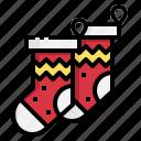 christmas, clothes, clothing, hang, sock icon