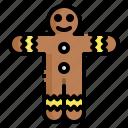 cookie, dessert, food, gingerbread, man icon