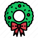 christmas, decoration, element, garland, wreath icon