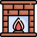 fire, fireplace, furniture, home, house, light icon