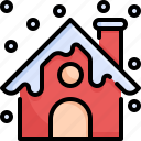 building, chimney, christmas, home, house, snow, winter