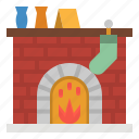 chimney, fire, fireplace, warm, winter icon