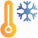 cold, snowflake, temperature, thermometer, winter
