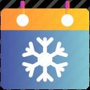 calendar, event, holiday, schedule, season, snow, winter