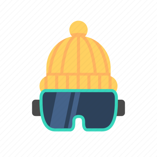 beanie, beanie hat, goggle beanie, google, ski goggle hat, travel, wooly hat with goggles icon