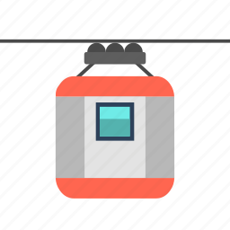 cable car, cable transportation, holiday, lift, moving cable, travel icon