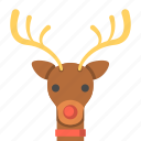 animal, deer, reindeer, rudolph the red nosed reindeer, travel, winter icon