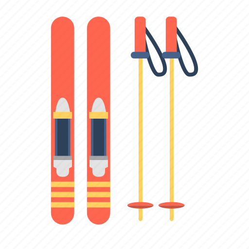ski, ski blades, ski board, ski poles, snowblade, travel, winter sports icon