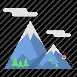 mountain, snow, snow mountain, summit mountain, travel icon