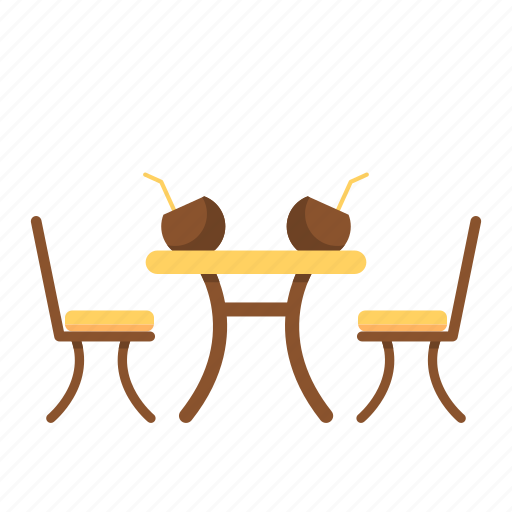 chairs, coconut, holiday icon