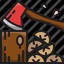 firewood, timber, log, wood, axe, winter, cut