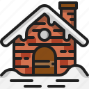 hut, cottage, home, winter, building, brick, snow