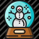 snow, globe, glass, sphere, snowman, decoration, winter