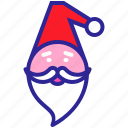 beard, cap, christmas, claus, gift, new year, santa icon