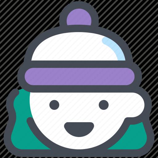 christmas, girl, hat, profile, winter, xmas icon