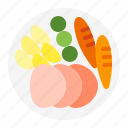 plate, meal, christmas, winter, dinner, dish, cooking icon