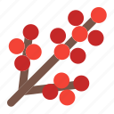 christmas, tree, winter, holly, fruits, plants, berry icon