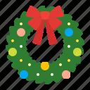ribbon, christmas, arrangement, decoration, plants, winter, wreath icon
