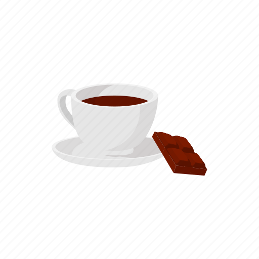 cartoon, chocolate, cup, drink, hot, liquid, sign icon