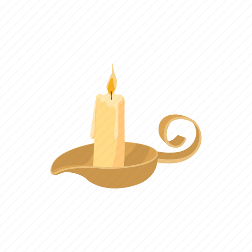 candle, candlestick, cartoon, fashioned, holder, lit, sign icon