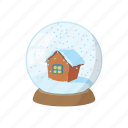 ball, cartoon, decoration, glass, globe, sign, snow icon