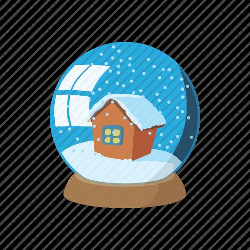 ball, cartoon, decoration, glass, globe, sign, snow icon