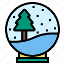 ball, globe, snow, tree icon