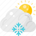 cloud, forecast, snow, snowflake, sunny, weather, winter icon