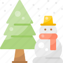 cold, nature, pine, snow, snowman, tree, winter