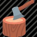 axe, cutting, equipment, tool icon