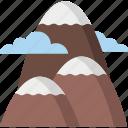 hill, landscape, mountains, sun icon