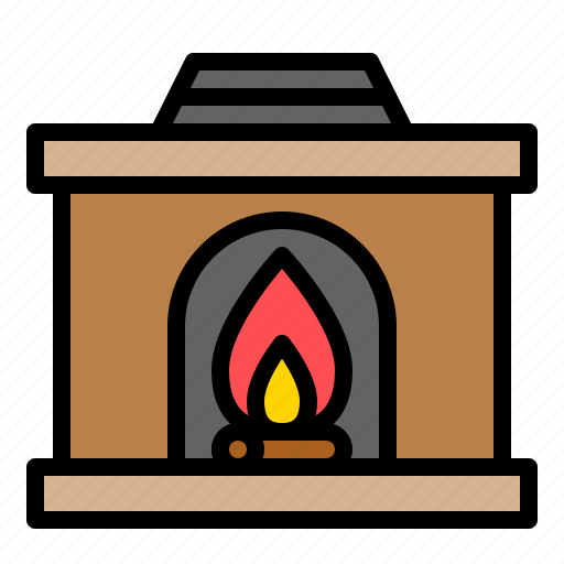 chimney, fireplace, household, sport, warm, winter icon