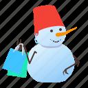 shopping, snowman, winter, xmas