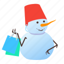 snowman, shopping, winter, xmas icon