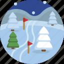 cold, season, skiing, skis, snow, snowflake, winter icon