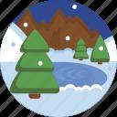 beautiful, lake, landscape, mountain, nature, snow, winter icon