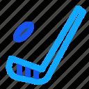 blue, hockey, set, stick, winter icon