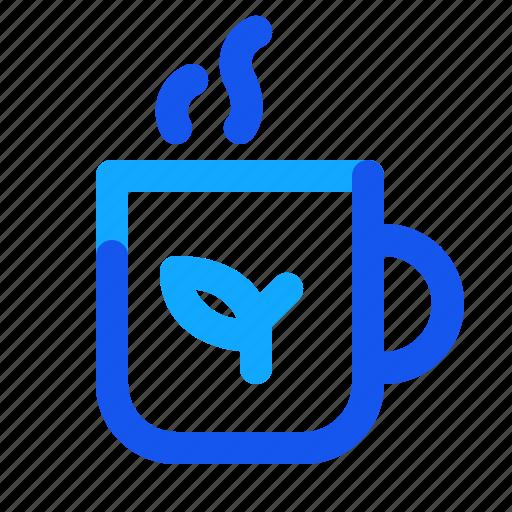 blue, hot, set, tea, winter icon